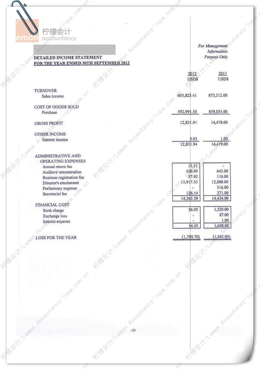 柠檬会计提供的香港公司审计报告/核数报告第13页:该页为公司详细损益表,是对损益表的各个细分科目进行汇总之后所得,载明公司的各项收入、费用和成本的明细,并得出净利润。