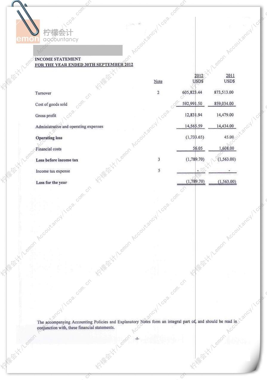 柠檬会计提供的香港公司审计报告/核数报告第6页:该页为香港公司简明损益表,用以列明香港公司的销售收入、毛利润、净利润等指标。