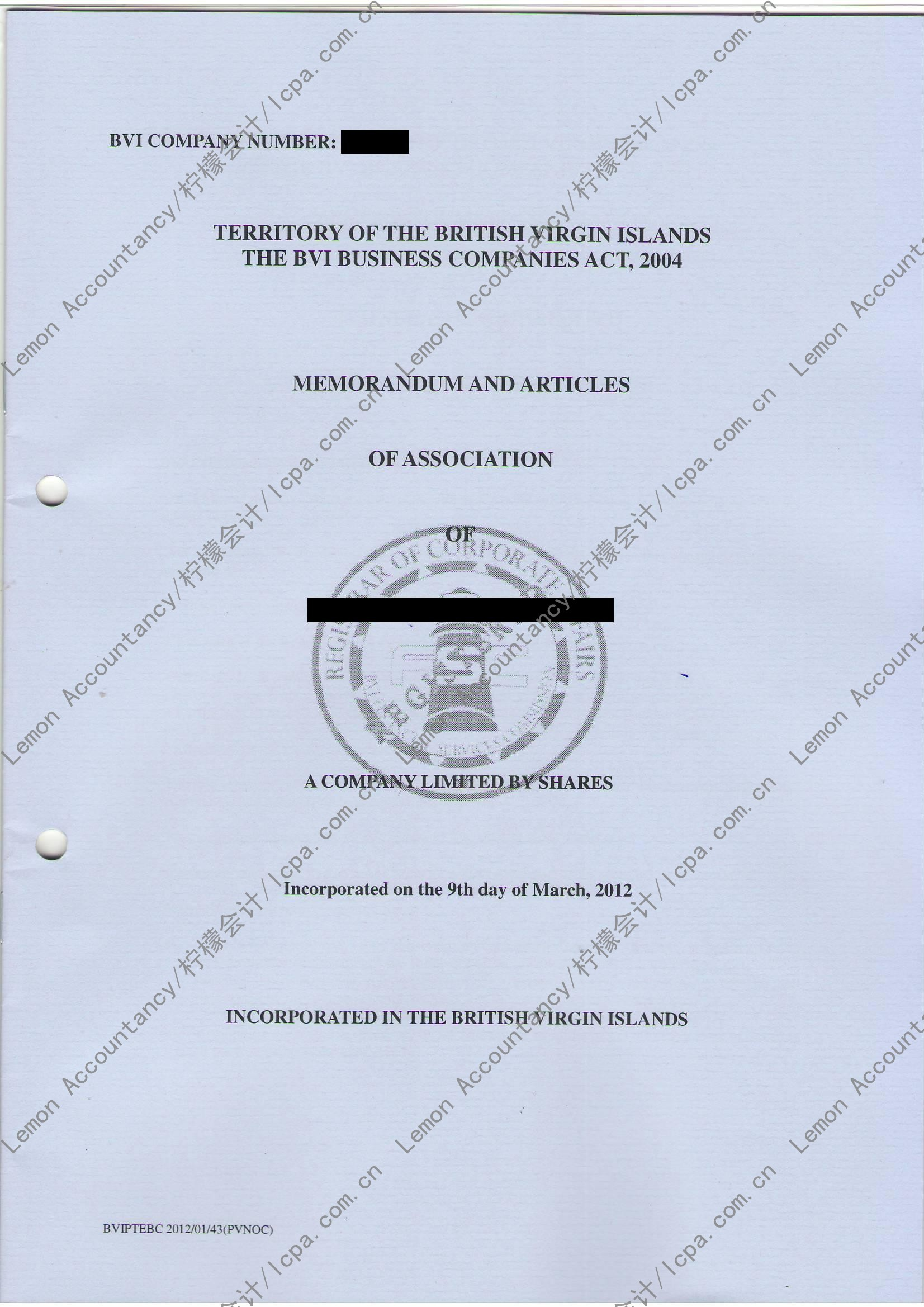 memorandum and articles of association 中文 版
